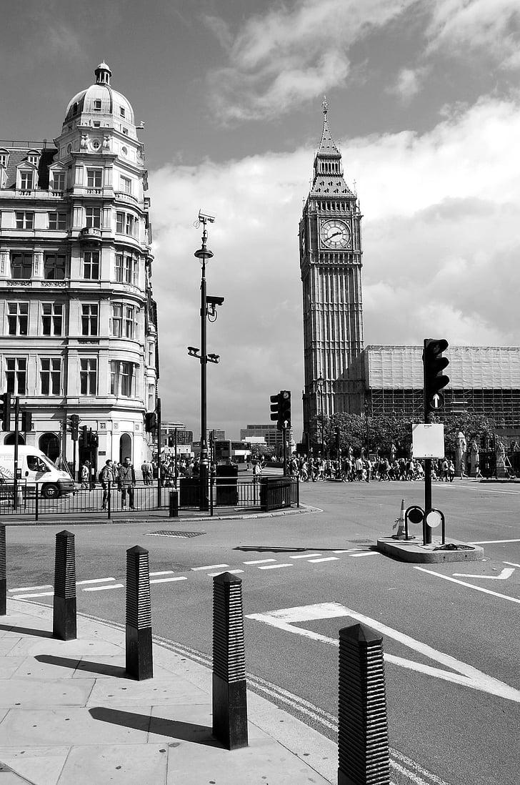 Westminster, Big ben, rajat, Lontoon city, musta ja valkoinen