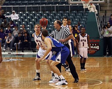 jogo de basquete, Jump ball, Árbitro, jogadores, equipe, ação, salto