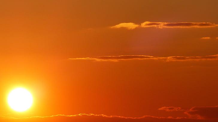 günbatımı, gündoğumu, Güneş, gökyüzü, kızdırma, morgenrot, Akşam gökyüzü