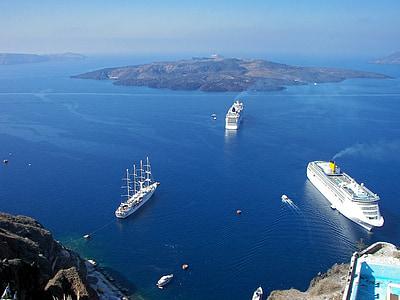 krydstogtskibe, Grækenland, Kykladerne, Santorini, Ægæiske Hav, Se, blå