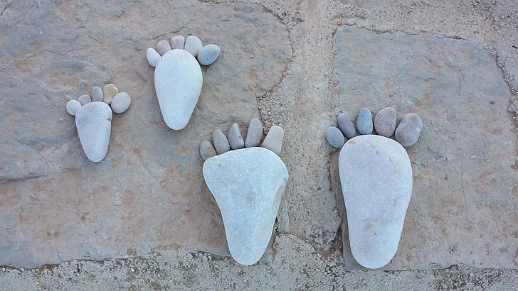 ฟุต, สิบ, หินกรวด, เท้า, ก้อนกรวด, หิน, ศิลปะ