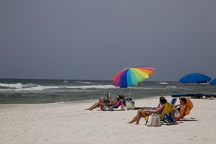 prendre el sol, platja, sorra, blanc, oceà, ones, paraigua