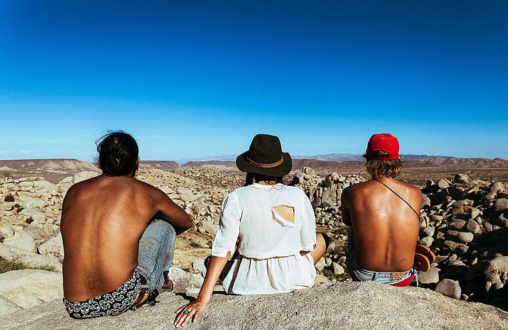 persones, noia, dona, xicot, home, barret, paisatge