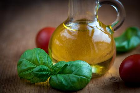 huile, huile d'olive, bouteilles, alimentaire, manger, bouteilles en verre, nature morte