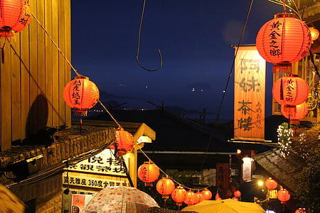 china lights, street, night view, rain, nine