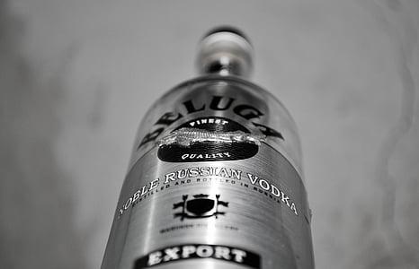vodka, bottle, beverage, white, shot, alcoholic, drink