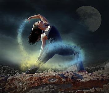 yoga, dancer, woman, night, mystic, scene, moon light