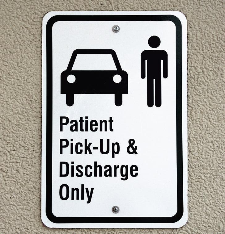 pasienten pickup tegn, symbolet, sykehus, tegn, skilting, akutten, helse