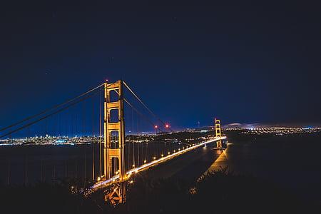 bridge, city, night, famous Place, bridge - Man Made Structure, uSA, architecture