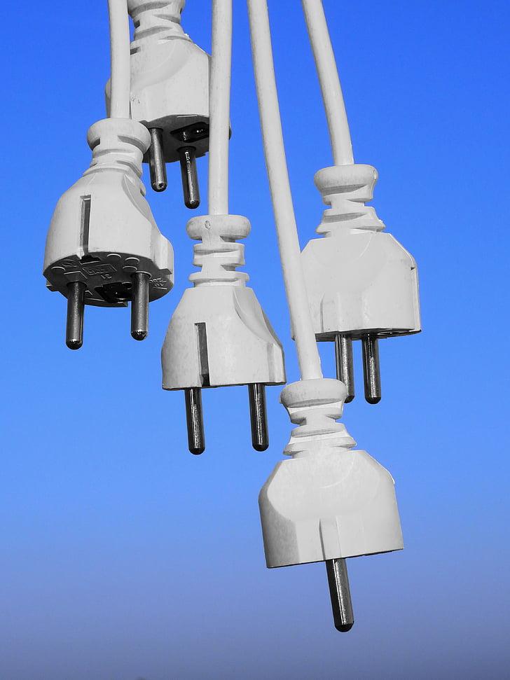 endoll, cable, línia, actual, energia, línia de poder, electricitat