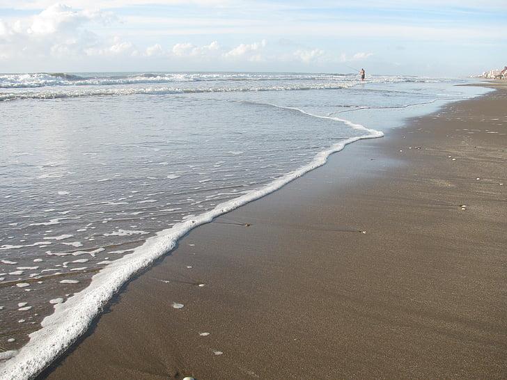 sjøen, sand, skum, bølge, stranden, sjøkanten, sjø-skum