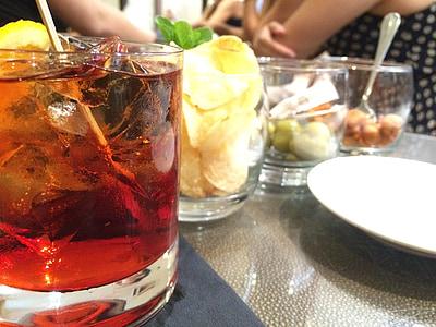 negroni, jook, likööri, alkoholi, kokteil, oranž, punane