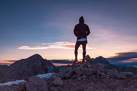 person, hoodie, standing, rocks, sunrise, people, hiking