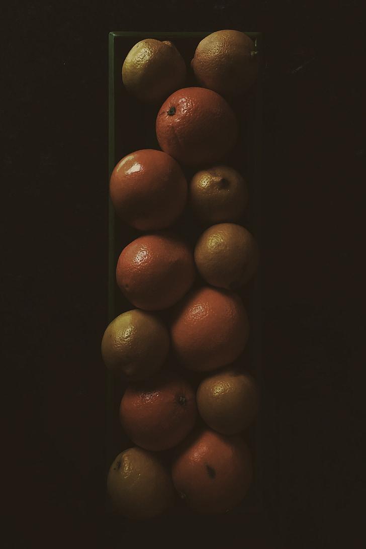 taronges, llimones, Arranjament, decoració, Marc, vidre, fruita