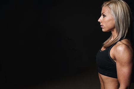 apmācības, puse sejas, muskuļi, blondīne, treniņa, fitnesa, uzdevums