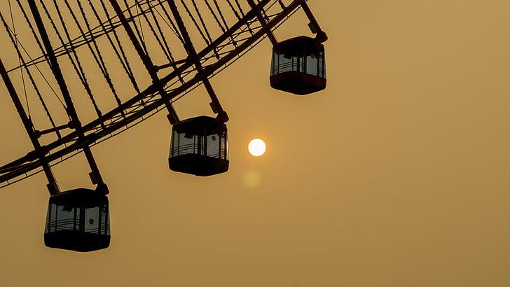 оглядове колесо, Захід сонця, Сутінки, декорації, краєвид, нічний погляд, НД