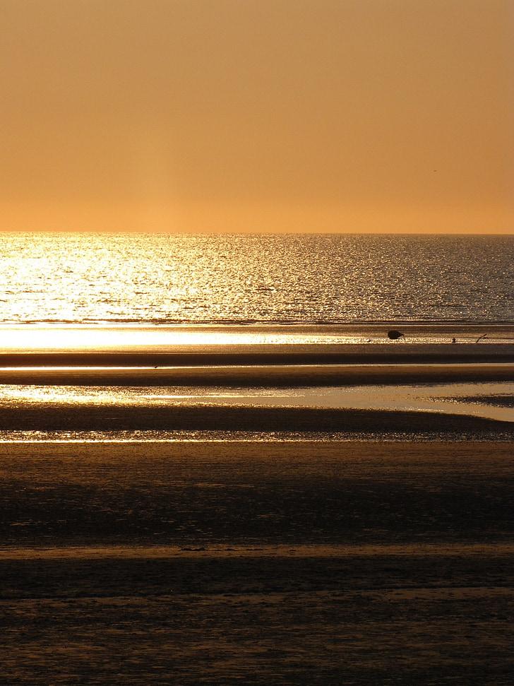 sunset, north pas de calais, cloud, beach, sea, seawall, holiday