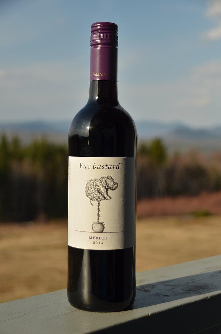 botella, vino, rojo, etiqueta, beber, uvas, disfrutar de