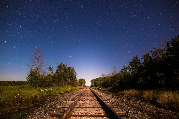 nit, vies del tren, ferrocarril, ferroviari, pista, pista del ferrocarril, natura