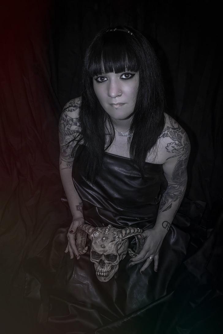 ženska, model, dekle, tatoo, necromancy, obleka, črna