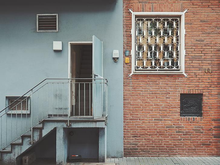 Architektura, budova, dům, schodiště, mimo, zeď, zdi - stavební funkce