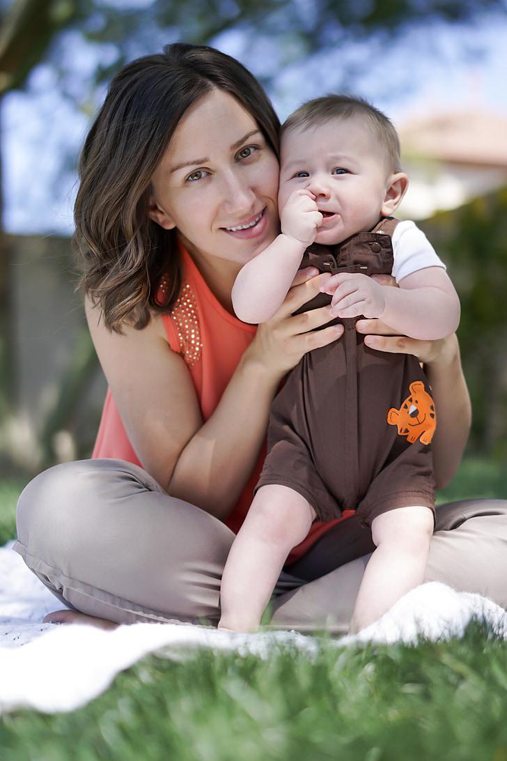 майчинството, Момче, родител, щастлива майка, новородено бебе, майка и бебе, майката бебето