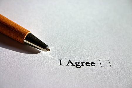 đồng ý, tiếng Anh, đồng ý, hợp đồng, thỏa thuận, Cross, ankreuzen