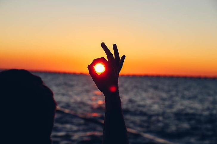 silhouette, person, okay, gesture, sunset, hand, sea