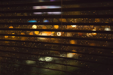 pluja, finestra, entelar, nit, llums, mullat, vidre