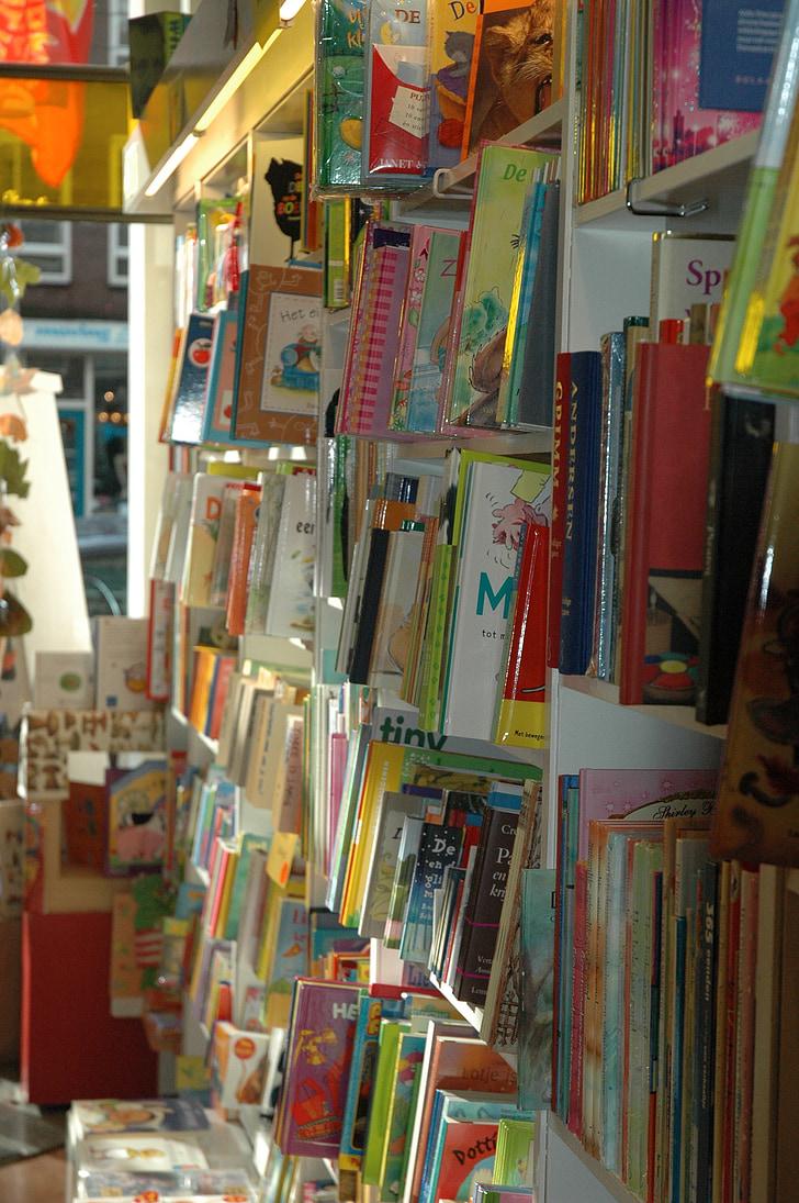bookstore, read, bookcase, library