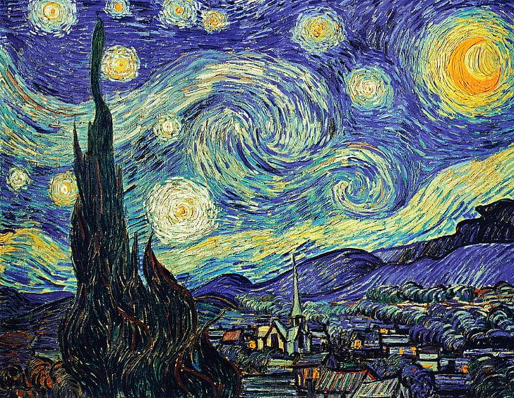 Ван Гог, звездното небе, живопис с маслени бои, HD, фонове, абстрактни, модел