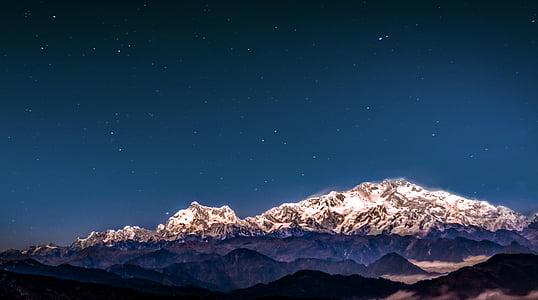 Нічне небо, зірочок, гори, краєвид, Нічне небо зірки, ніч, небо