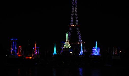 Torre Eiffel, nit, records, arquitectura, Monument, París, França
