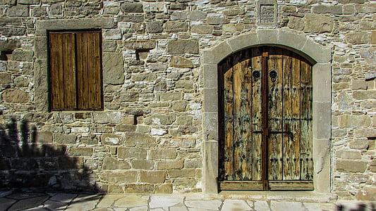 drzwi, okno, drewniane, stary, ściana, wejście, Kościół