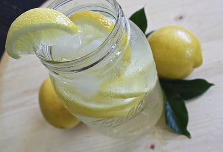 citrónová voda, limonáda, sklo, citrón, nápoj, osvieženie, čerstvé