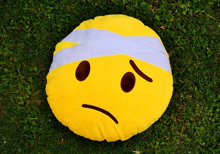 skoro sa uzdrav, smiley, milý, plyš, žltá, smutný, zranených