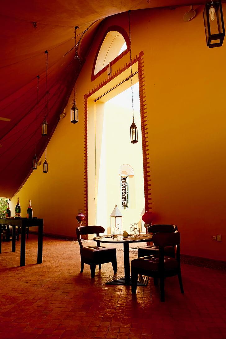 Club med, Marrakech, Maroko, med klub, kava, notranjost, hotel