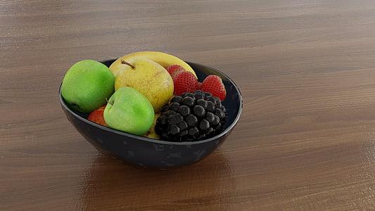 fruites, plat de fruita, raïm, maduixes, fresc, Sa, aliments
