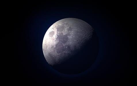 månen, fullmåne, måneskinn, Lukk, himmelen, natt, astronomi
