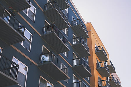 Apartemen, arsitektur, balkon, biru, bangunan, warna, warna