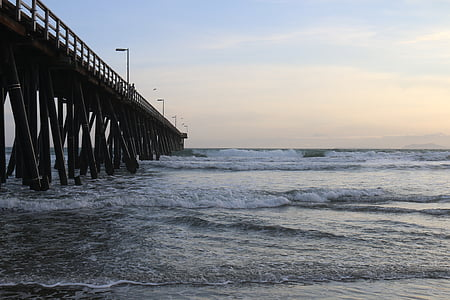 pier, ocean, waves, water, clouds, sunset, sunrise