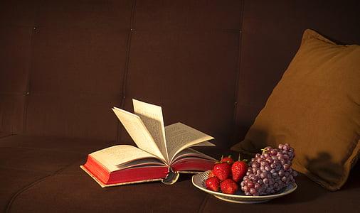 Avage, lehekülg, raamat, kõrval, pruun, viska, padi
