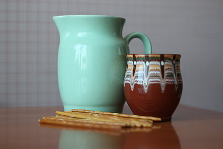 pitcher, cup, pots, still life