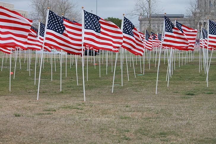flag for børn, Oklahoma city, Oklahoma, USA memorial, close-up, amerikansk, symbol