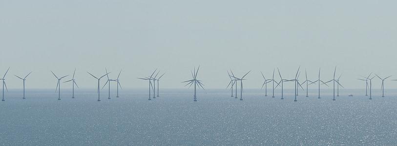 windräder, Parc del vent, Llac, energia, energia eòlica, generació d'energia, protecció del clima