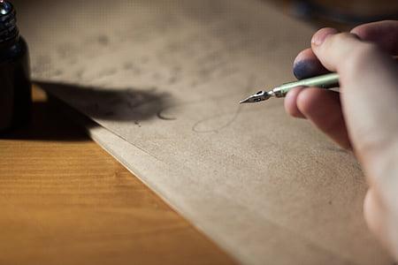desenfoque de, Caligrafía, composición, escritorio, documento, pluma fuente, mano