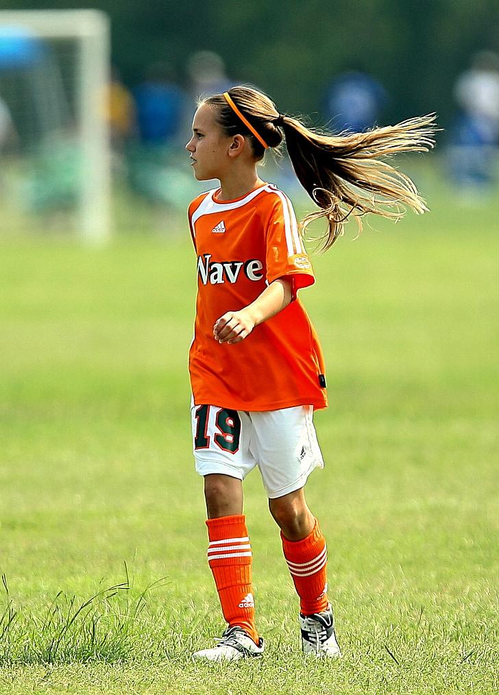 futbol, jugador, noia, futbol, esport, joc, camp