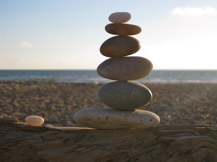 balance, stones, stacked, sea, beach, patience, zen
