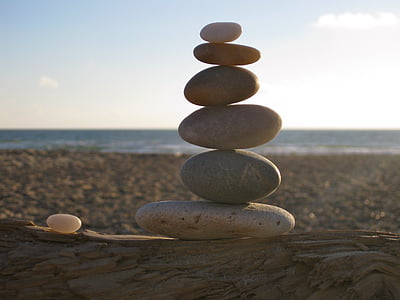 Balance, pierres, empilé, mer, plage, patience, Zen