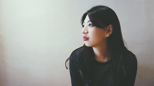 potret, Salon Kecantikan, lateral wajah, wanita, muda, Asia, Sedih